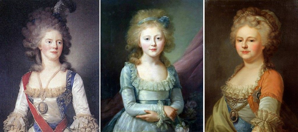 1792-95 : des couleurs différentes au sein de la famille impériale : 1792 La tsarevna Maria Feodorovna par Jean-Louis Voille ; la même année par le même peintre, sa fille la grande duchesse Eléna Palvovna ; 1795, la tsarevna porte du orange (par Lampi)./ 1792-95 : different colors for the Imperial family : 1792 tsarevna Maria Feodorovna by J-L Voille, same year by the same painter, her daughter the grand duchess Elena Pavlovna ; 1795 the tsarevna is wearing orange (by Lampi).