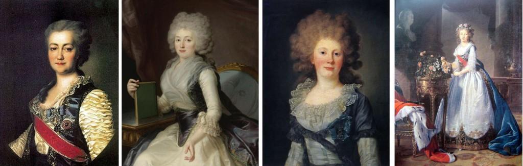 Différents styles: un précoce (1784, Ekatérina Voronstova- Dachkova par Lévitsky), début des années 1790 Olga Jerebtsova par J-L Voille et la contesse Sofia Panina (1791), Elisabeth Vigée Lebrun, la grande duchesse Elisabeth Alexeievna en 1796./ Different styles: an early (1784 Ekatérina Voronstova- Dachkova by Lévitsky), beggining if the 1790's Olga Jerebtsova by J-L Voille et the countess Sofia Panina (1791), Elisabeth Vigée Lebrun, the grand duchess Elisabeth Alexeievna in 1796.
