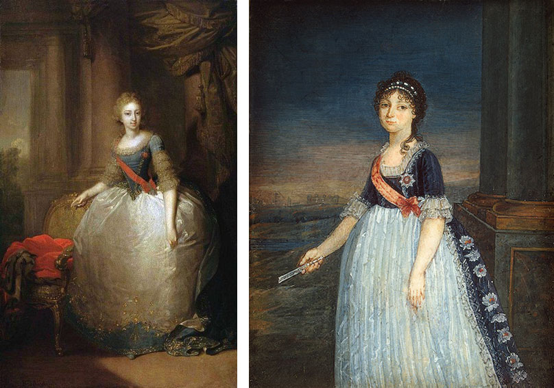 Des versions beaucoup plus tardives : les grandes duchesses Elena Pavlovna (par Borovikovsky, Gatchina), et Anna Feodorovna (1799-1800, Ermitage). La taille est encore basse pour le premier mais on sent nettement l'influence des modes empire sur le second./ Very late versions : grand duchesses Elena Pavlovna (by Borovikovsky, Gachina) and Anna Feodorovna (1799-1800, Hermitage). Waist is still low on the forts but you could easiky see the Empire silhouette on the second.