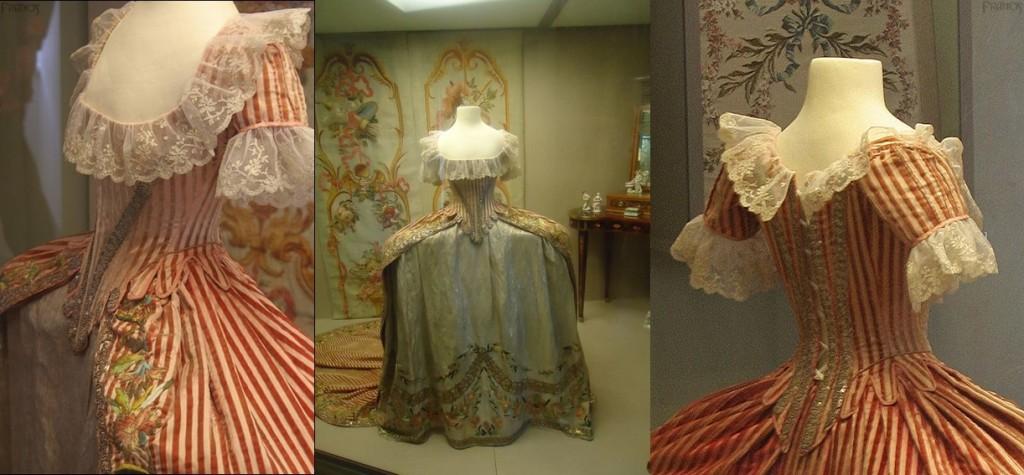 Et pour finir, ceci n'est pas une robe de cour russe, malgré les rayures. Elle a été faite pour la grande duchesse Ekatérina Pavlovna, peut-être dans l'atelier de Rose Bertin, à la fin des années 1780. C'est un grand habit français avec la particularité d'avoir les rayures prisées par le costume de cour russe. (Pavlovsk). / To finish, this is not a Russian court dress. It was made for the grand duchess Ekaterina Pavlovna, maybe by Rose Bertin workshop. This is French grand habit with stripes, popular on Russian court dress.