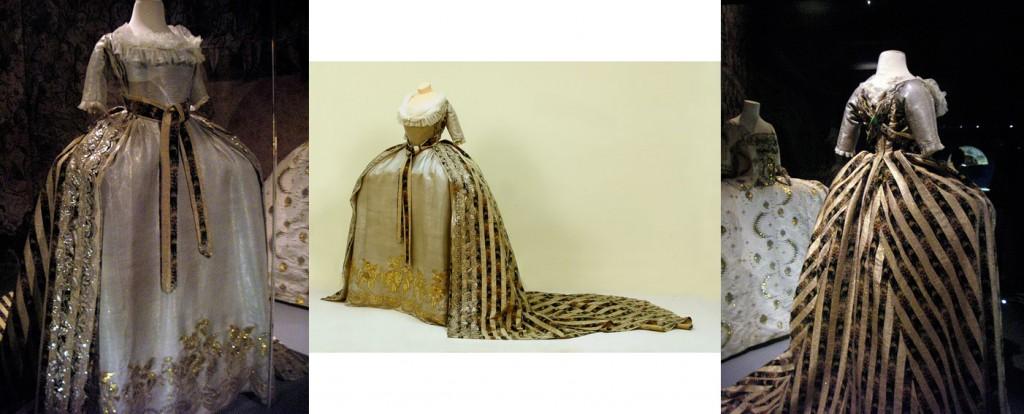 Robe de cour de la grande duchesse Ekatérina Pavlovna, années 1790, Pavlovsk: grand corps, jupe et manteau à traine muni de bretelles. Pékin de soie, drap d'or, paillettes dorées, cannetille or et argent, grands et petits paillons d'argent, paillettes d'argent. Cette robe a été présentée à l'exposition Fastes de cour au château de Versailles (les photos de droite et gauche sont de Johanna Öst). / Court dress of grand duchess Ekaterina Pavlovna, 1790's, Pavlosvk: grand corps, skirt and manteaux with train and straps. Silk pekin, gold cloth, gold glitter, gold and silver bullion, large and small silver spangles, silver sequins. This dress was presented to the Fates de cour exhibition at Versailles (photos left and right by Johanna Öst)